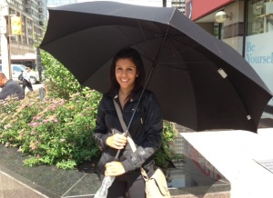 Schenell Rosario with her new golf umbrella