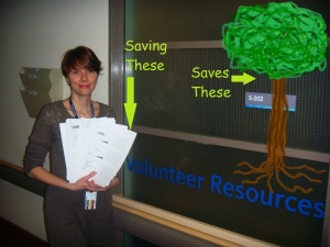 Kelly Campbell saves 18,000 sheets of paper by moving volunteer packages online