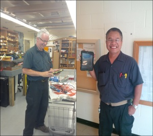Steve & Ramon complete work orders by tablet, conserving paper an trees with each facilities maintenance job.