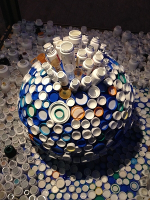 Globe Bottle Installation made of bottles collected at our Pharmacies
