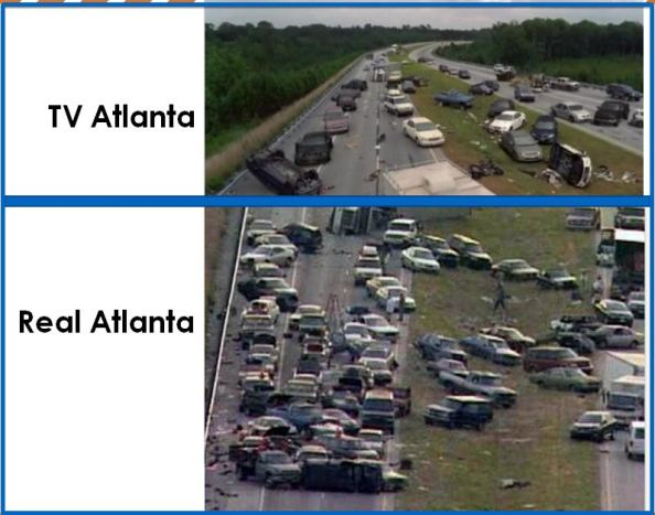 The Olympic games in Atlanta Georgia plus a storm made real Atlanta look just like fictional Atlanta on Zombie Apocalypse TV show