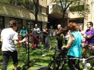 Staff learn the ABC checklist for biking maintenance. Lots of new bike racks were installed to further encourage clean-air 2 wheeled commutes