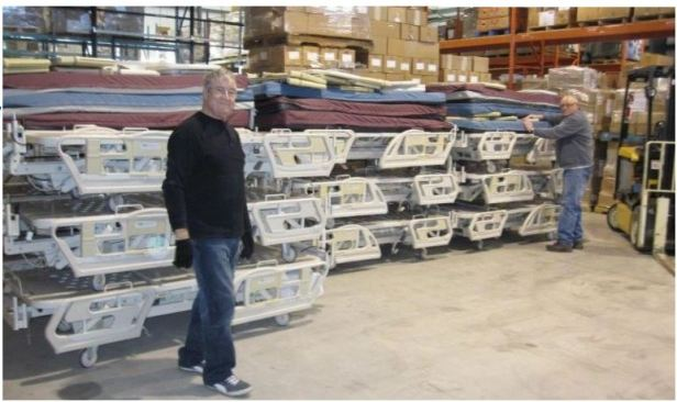 Stacks of beds in the warehouse