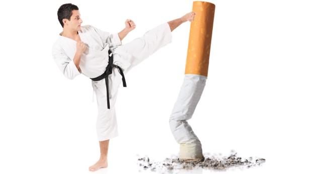 Literally kicking the habit, image credit: quitsmokingcommunity.org
