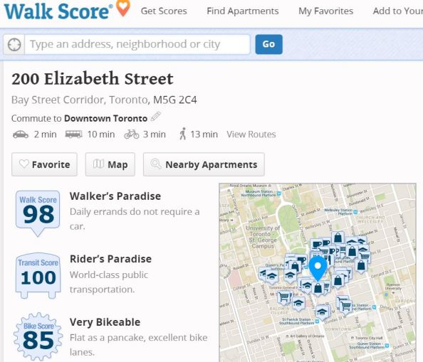 Walkscore for Toronto General Hospital ... very nice!