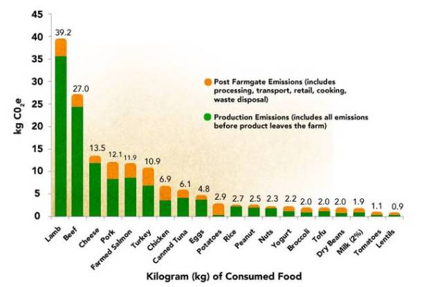 Comparing the environmental footprint of food. Image credit: Environmental Working Group