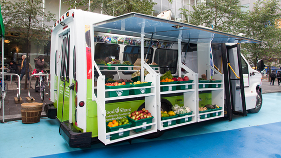 Catch the Mobile Market food truck with fresh fruits, veggies and and healthy snacks every Friday from July 15 to Sept. 30. It'll be outside Toronto General Hospital's University Avenue entrance 11:30 AM -2:30 pm (Photo: Toronto Public Health)