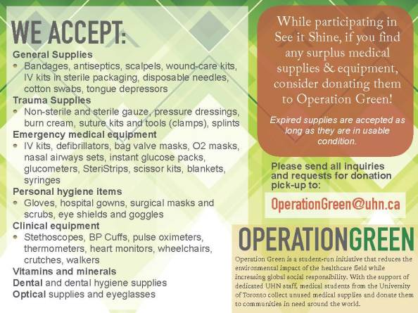 email OperationGreen@uhn.ca if you have any of these things
