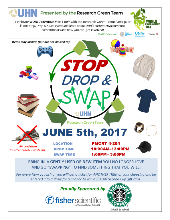 Celebrating World Environment Day:  UHN Research Green Team's  Stop, Drop & Swap Event