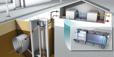 NThe WET system at Toronto Western Hospital will take energy from raw municipal wastewater flowing through a nearby sewer to heat and cool the hospital. (Graphic: Noventa Energy)